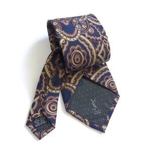 YSL Yves Saint Laurent Paisley Tie Silk Italy